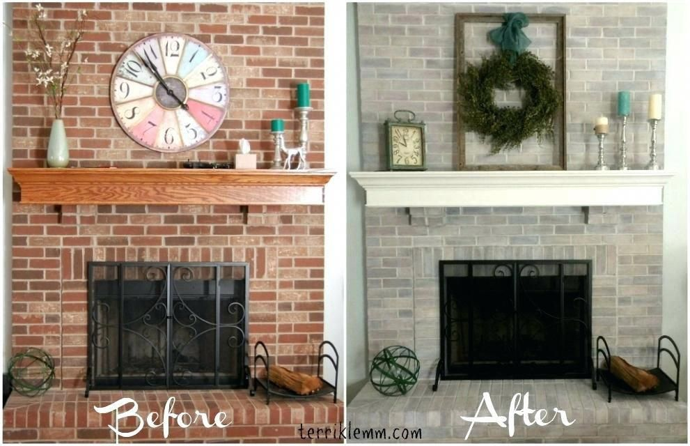 Excellent Update Brick Fireplace Before After Before And After Refresh Home Interior And Landscaping Sapresignezvosmurscom