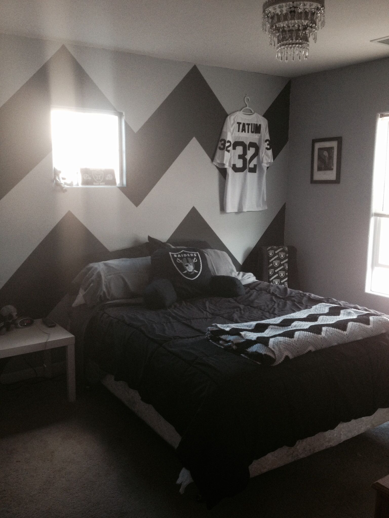 Oakland Bedroom Furniture Sporty Stripes In Our Big Boys Raiders Room Boys Bedrooms