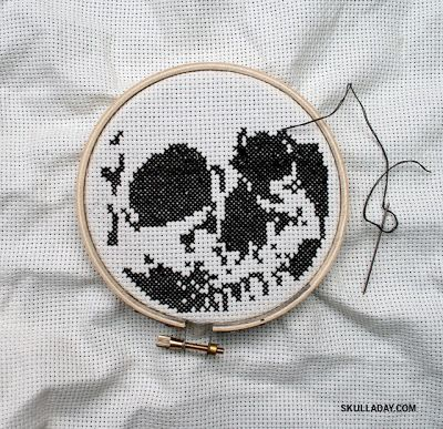 Photo of Free PDF download, skull cross stitch pattern