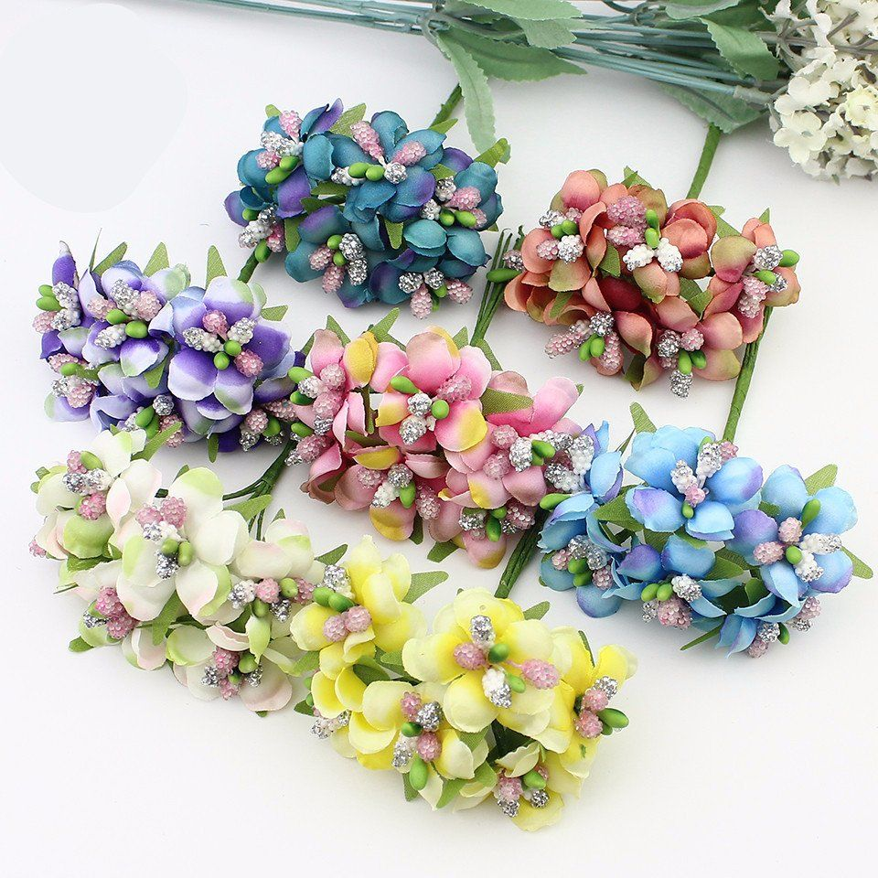 6pcs 3cm Artificial Stamen Bud Berry Flower Fake Flowers Crafts