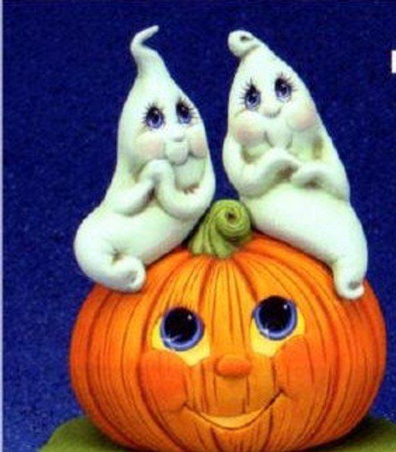 HALLOWEEN GHOST Lovers on Sill Sitter Pumpkin LIght UP * Ceramic