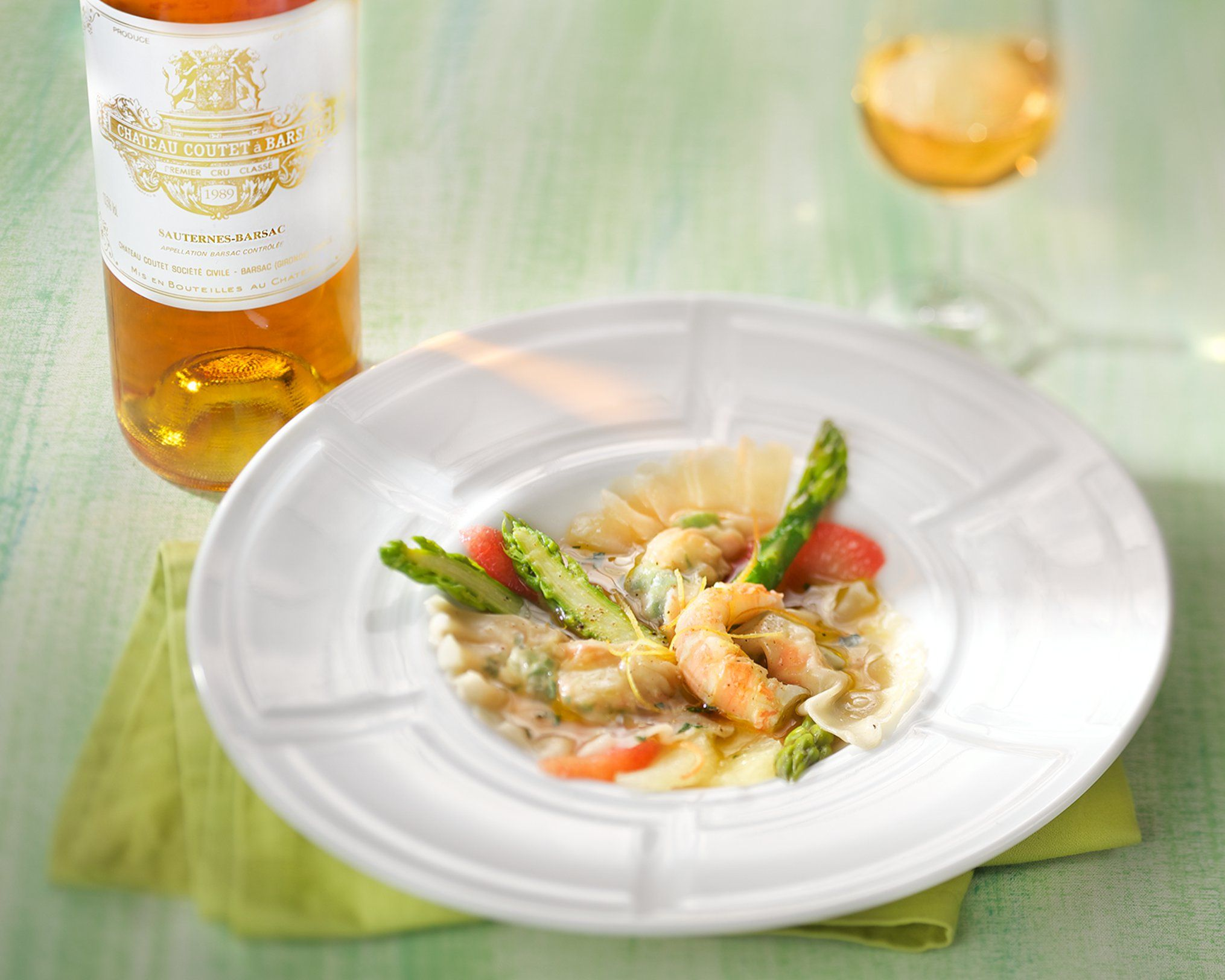 Langoustine And Asparagus Ravioli With A Sauternes Sauce Coutet Barsac Wine Vin