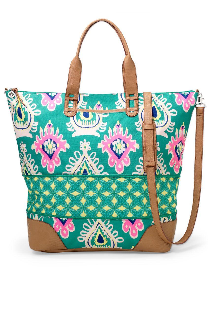 Stella & Dot Green Ikat Getaway Bag