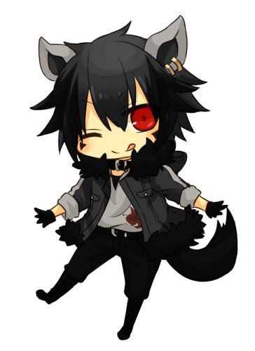 Cute Adorable Anime Boy Chibi Emo Scene Gothic Look Wolf