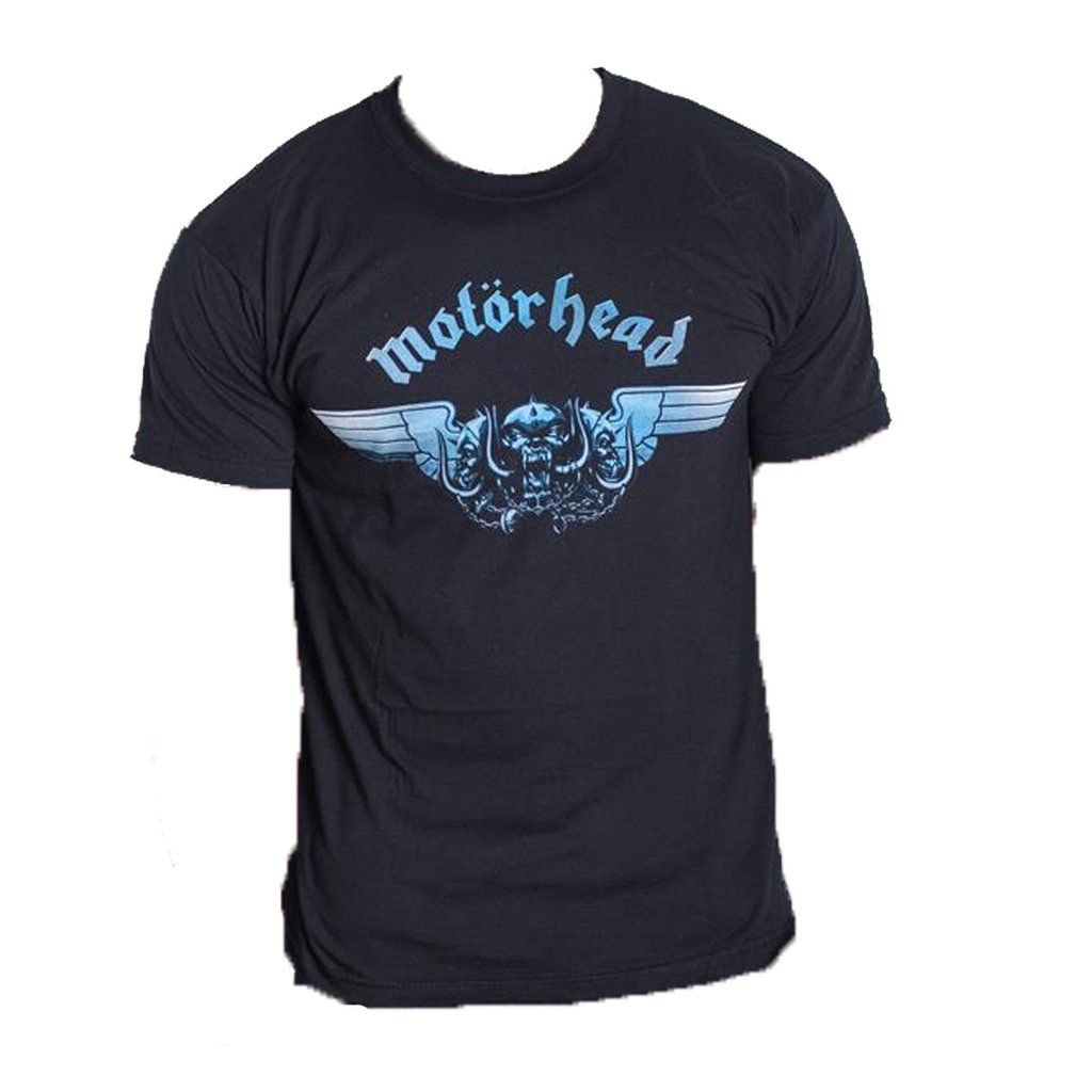 Black T-Shirt with Motorhead TriSkull logo in blue