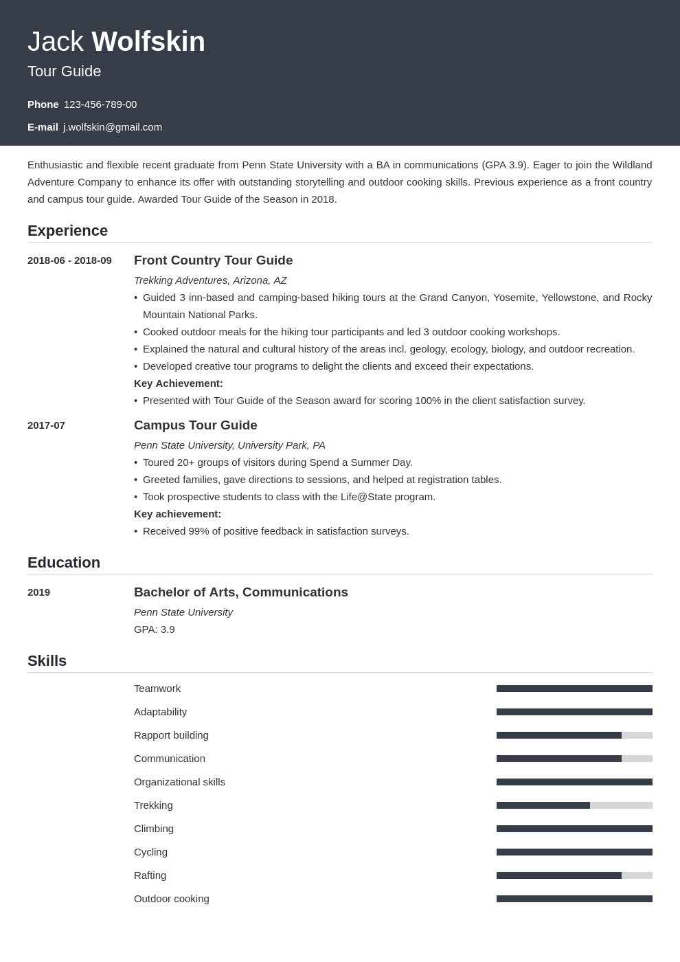 tour guide resume example template influx in 2020 Job