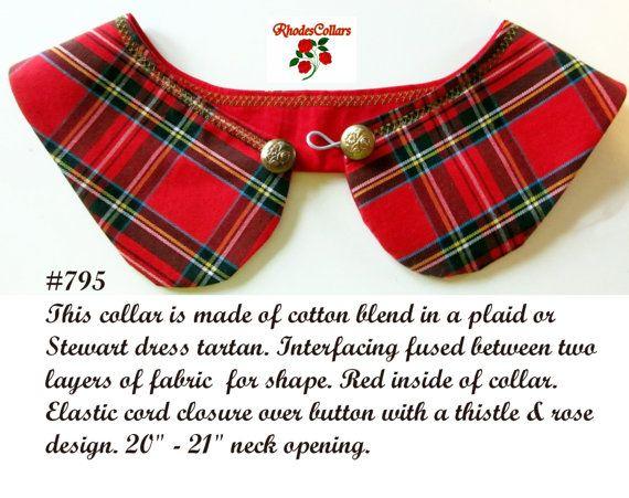 Detachable faux collar red plaid Stewart by DetachableCollars
