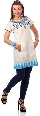 Roposo.com - Latest cotton boat-neck half-sleeve casual tunics with piping pockets best for summer online nikhaar creations white cotton monochrome tunic
