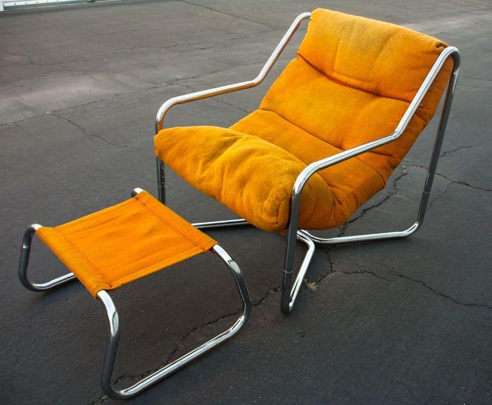 Mid Century Modern Lounge Chair Chrome Tubular Sling Unarco 60s