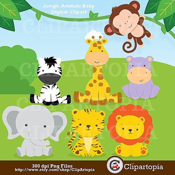 Jungle Animals Baby Digital Clipart Safari Animals Clip Art Etsy Baby Zoo Animals Jungle Animals Baby Animals