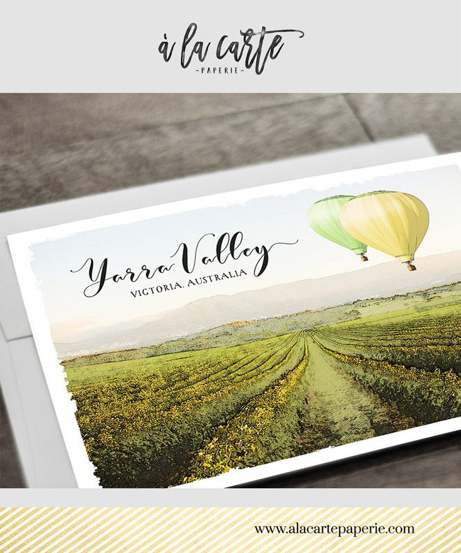 destination wedding invitation rsvp date%0A Australia Yarra Valley Winery  illustrated wedding invitation Destination  Winery Wedding