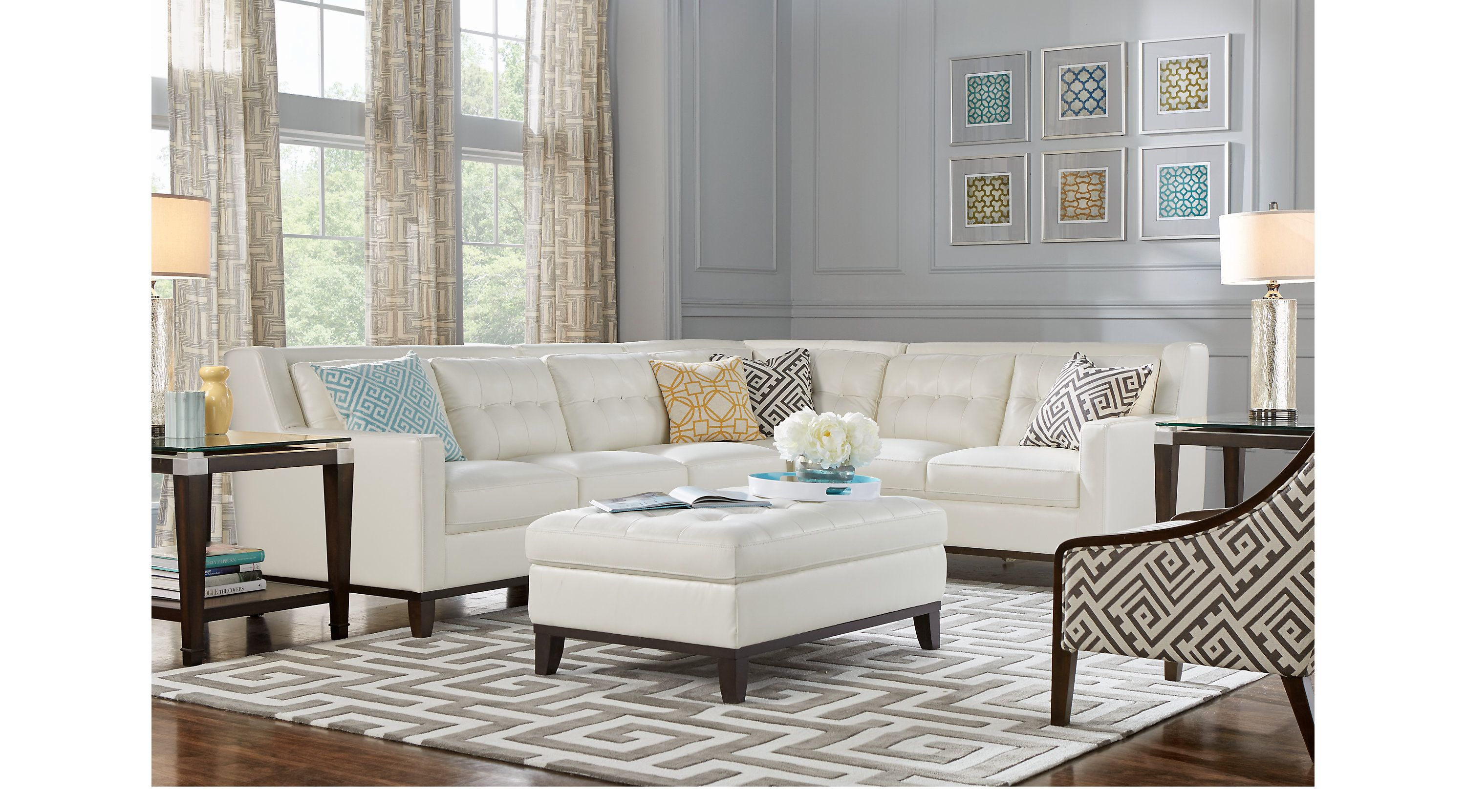 Living Room Sets - Rooms To Go - Reina Point White Leather 5 ...