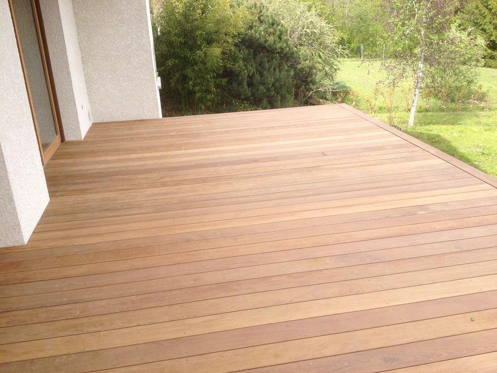 Terrasse en bois exotique (Ipé) sur pilotis + escalier déco la