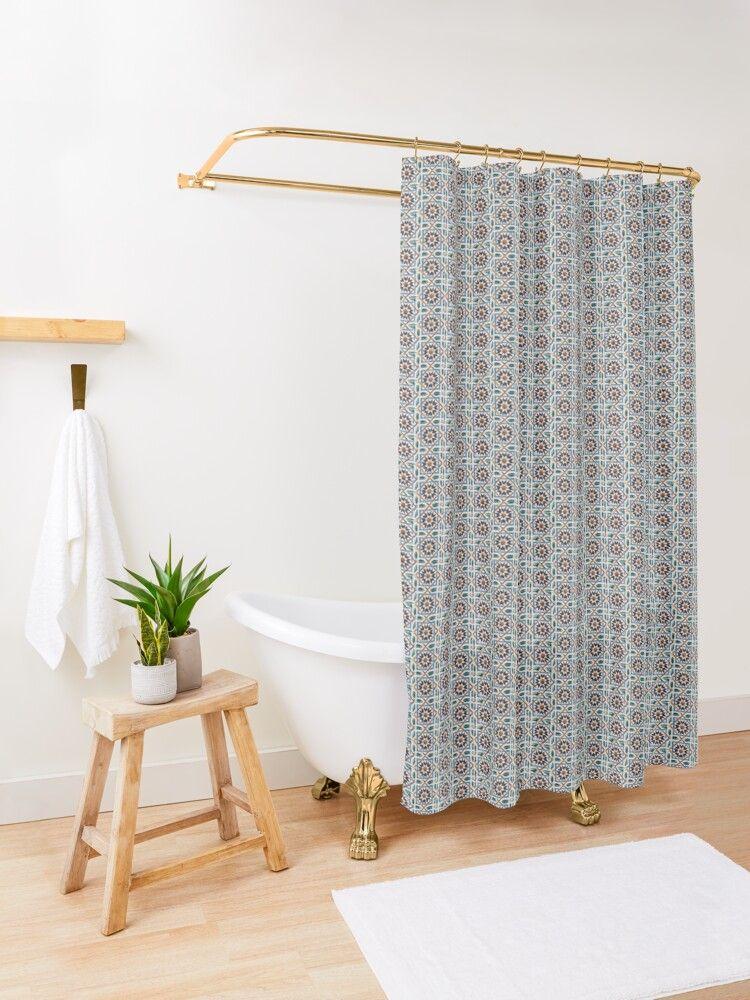 Geometric Mudejar Style Azulejo Tile Pattern Shower Curtain By Sofiaalves Designer Shower Curtains Patterned Shower Curtain Blue Shower Curtains