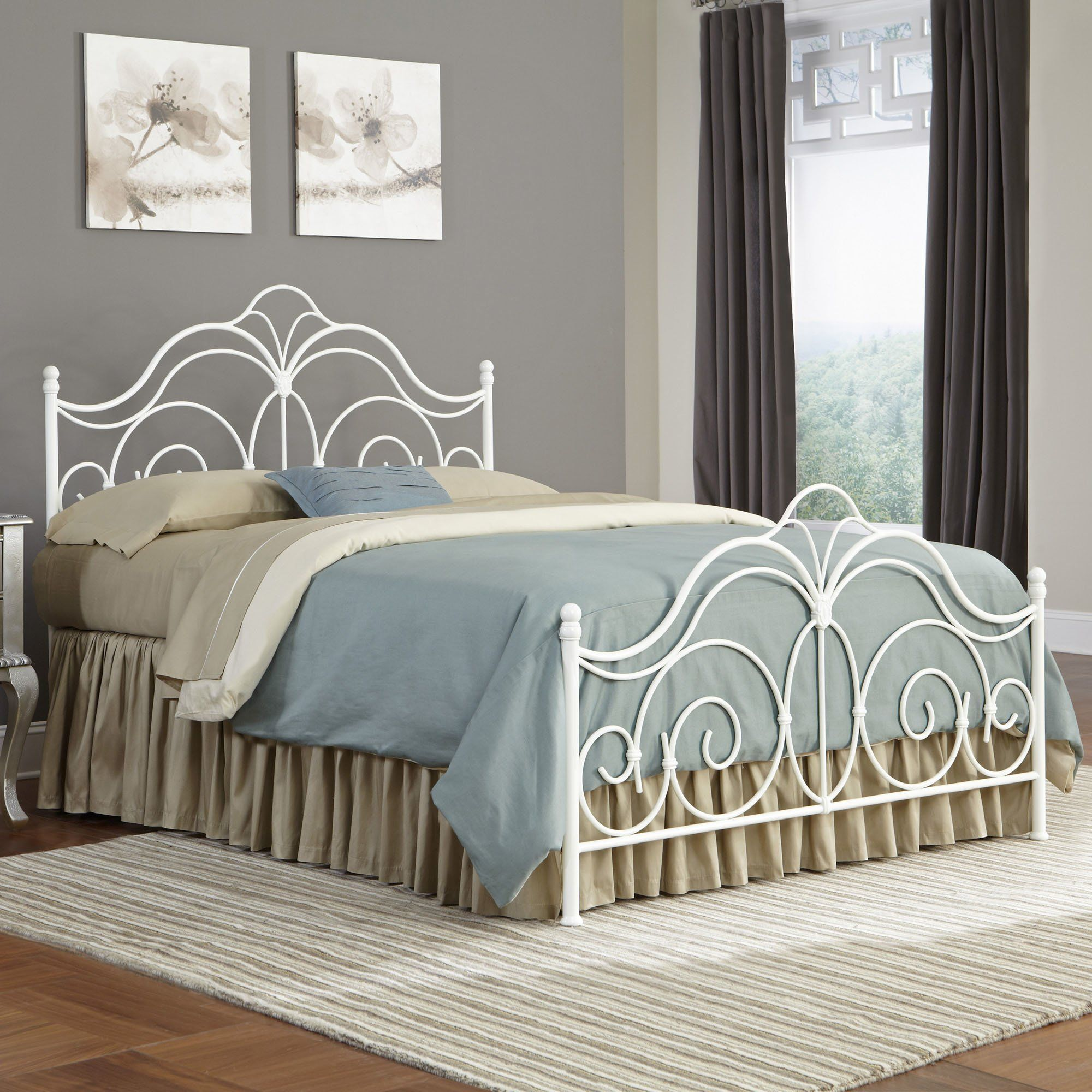 Elnora Panel Bed White metal bed, Bed styling, Metal beds