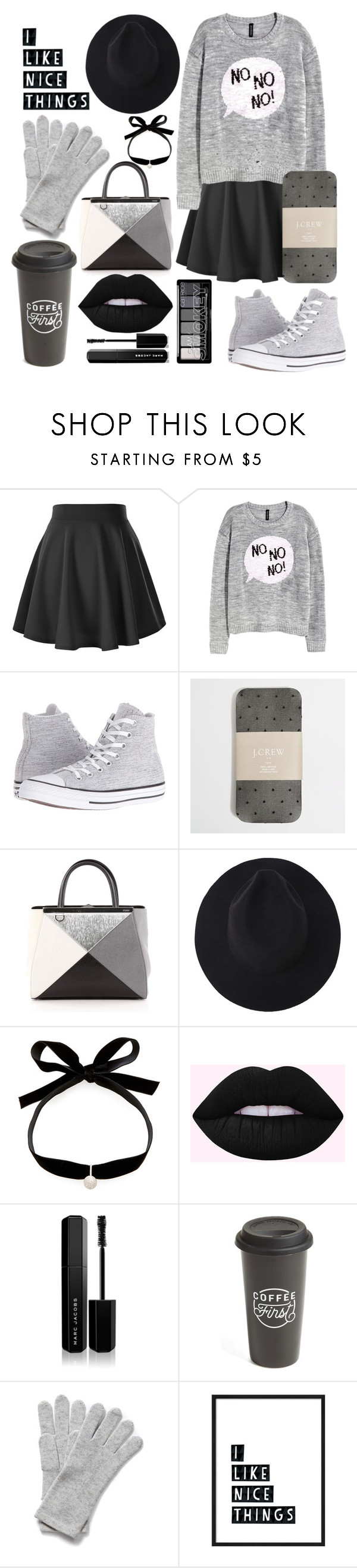 """Cold and Gray"" by kaylee-farthing ❤ liked on Polyvore featuring Converse, J.Crew, Fendi, Mateo, Marc Jacobs and The Created Co."