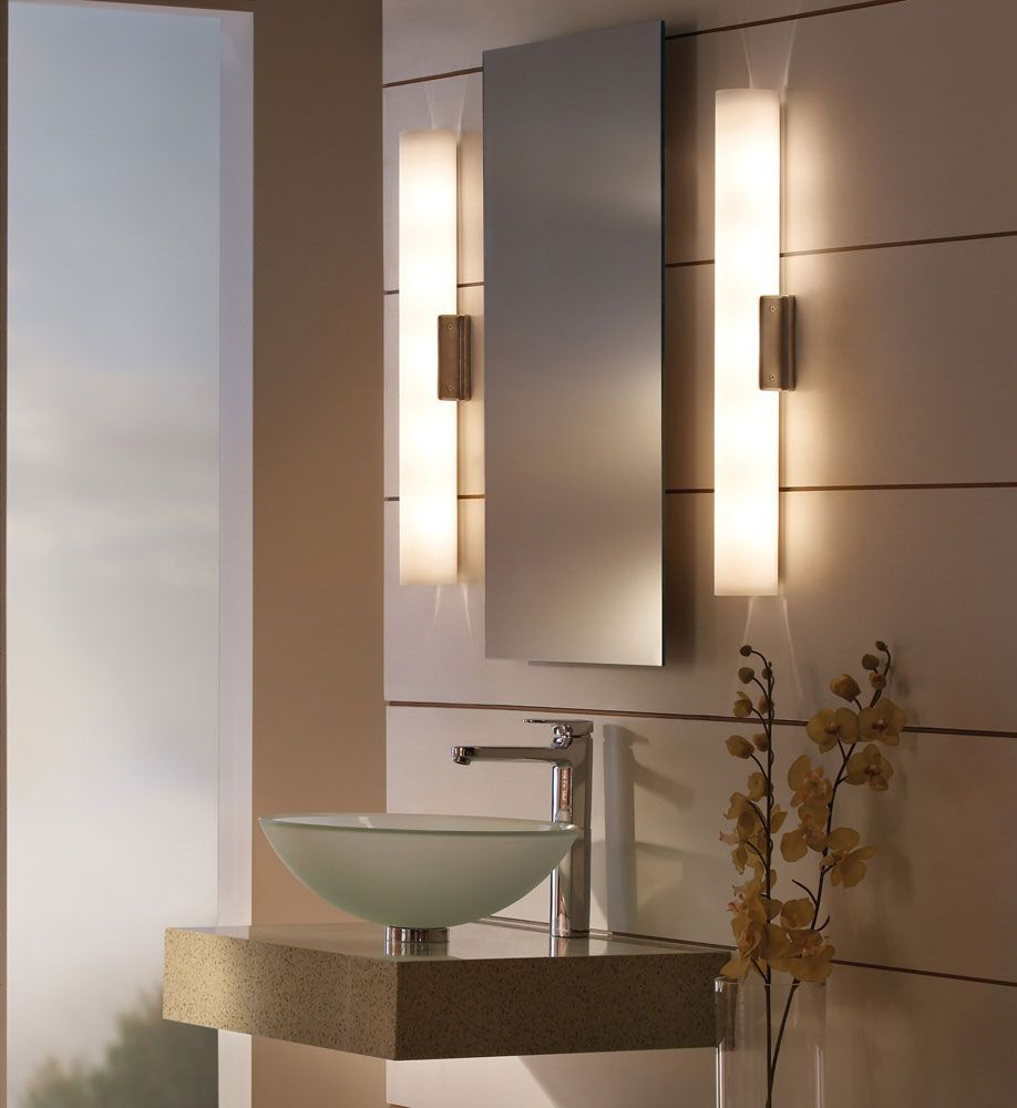 Solace Bathroom Vanity Light features a clean linear frost white ...