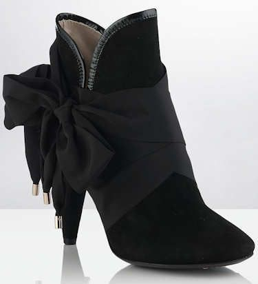 black mulberry floppy bow booties