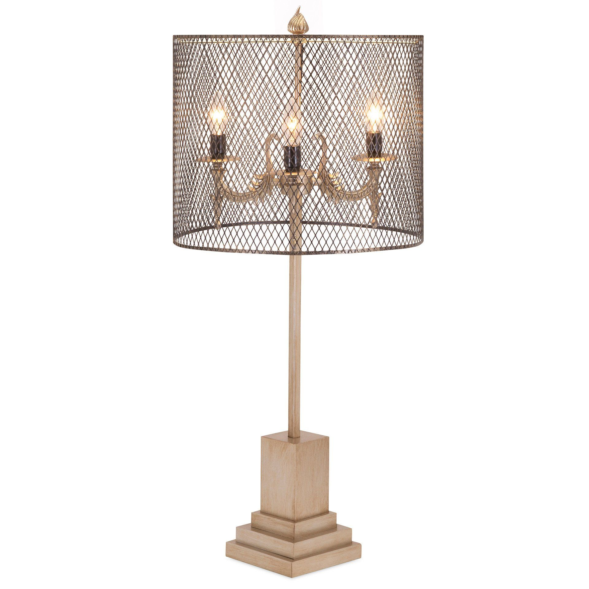 Industrial Chic Modern Wire Mesh Table Lamp This Three Light Table Lamp Features A Square Decorative Base And A See Through M Metal Table Lamps Table Lamp Lamp
