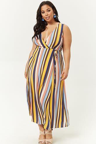 48ea8bd86251 Summer Dresses · Plus Size Striped Wrap Dress Queen Fashion
