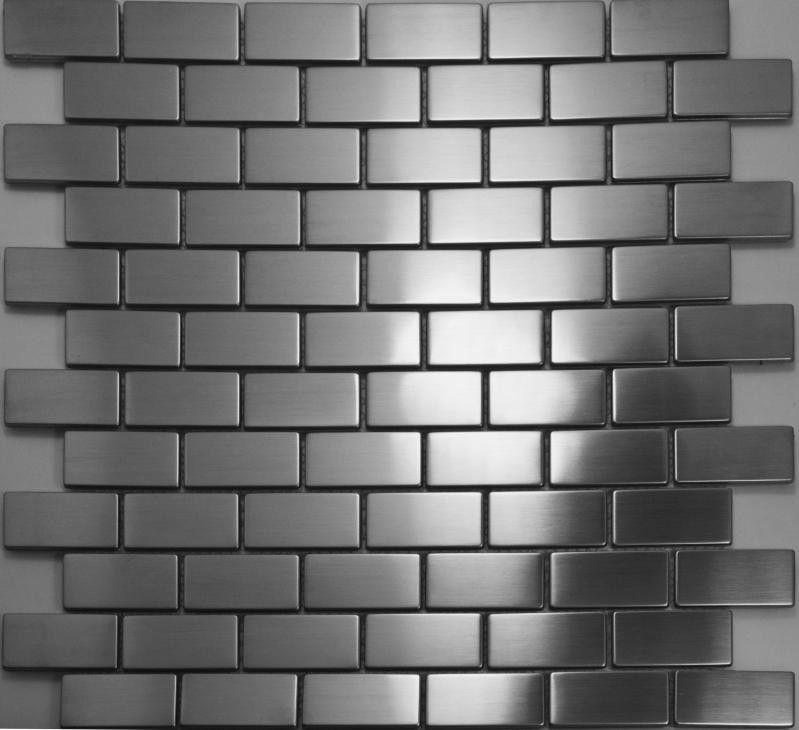 Brick Silver Metal Mosaic Tiles Smmt017 Stainless Steel Wall Tile Kitchen Backsplash Brushed Metallic