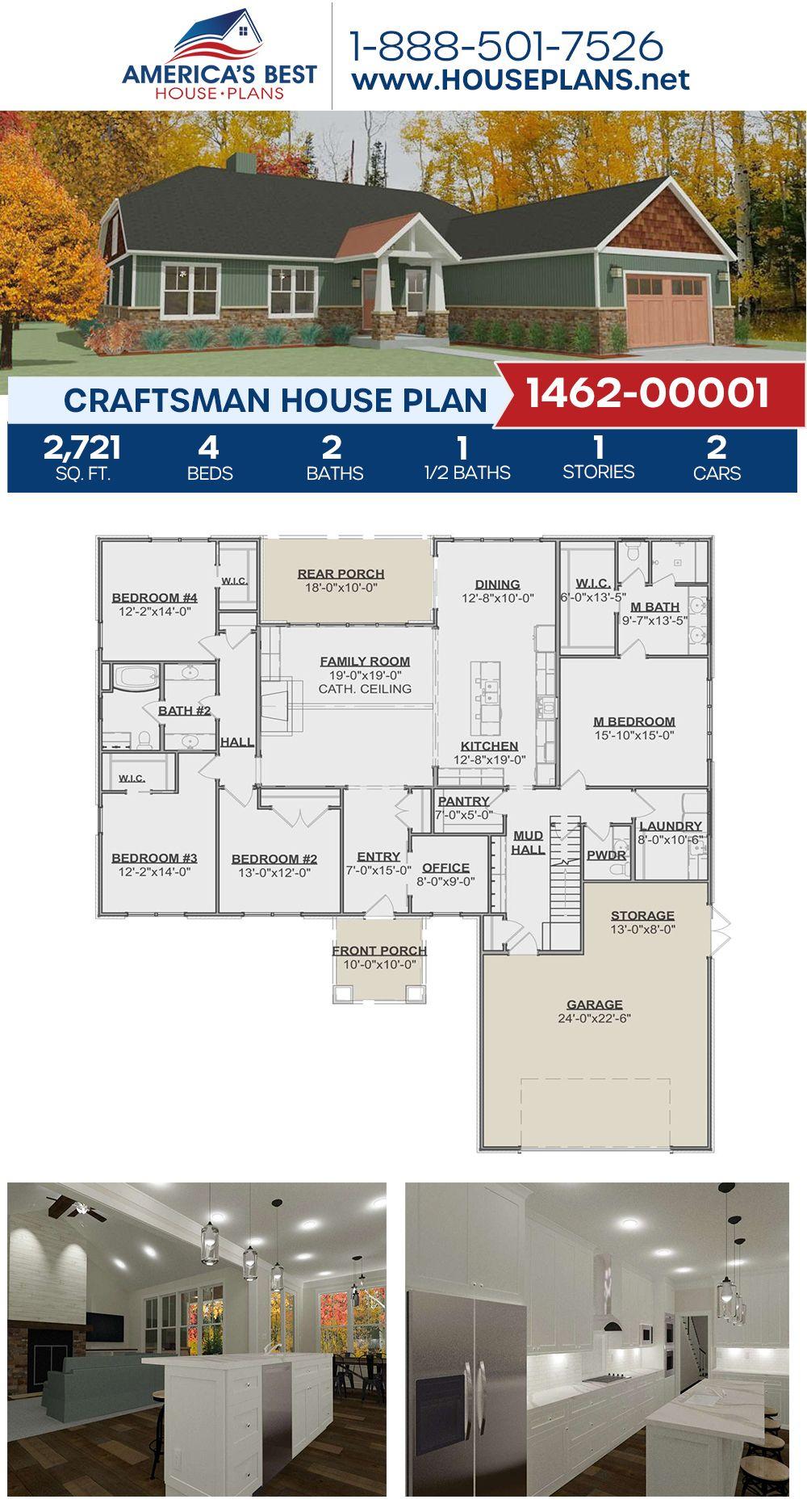 House Plan 1462 00001 Craftsman Plan 2 721 Square Feet 4 Bedrooms 2 5 Bathrooms In 2020 Craftsman House Plans Craftsman Style House Plans Craftsman House Plan