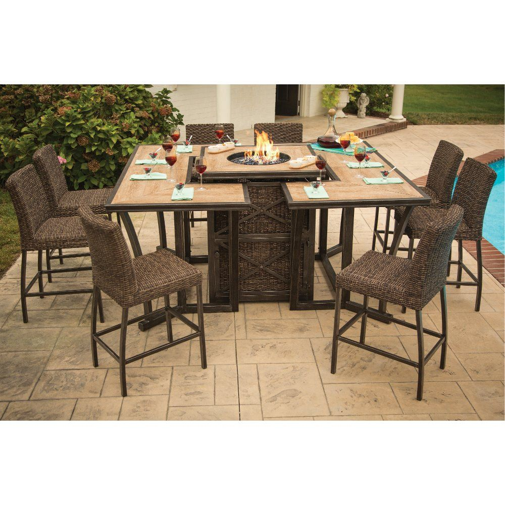 11 Piece Outdoor Patio Fire Pit Dining Set Franklin Rc Willey Furniture Store Fire Pit Dining Set Fire Pit Furniture Outdoor Furniture Sets 11 piece patio dining set