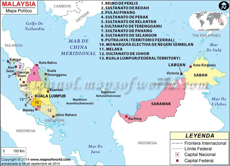 Malasia Mapa  Mapa de Pases  Pinterest  Malaysia Asia and