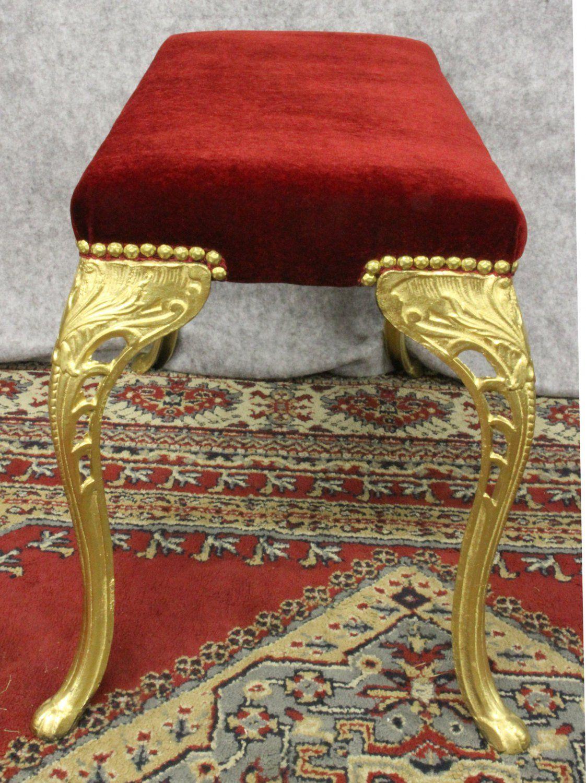 Gold Bedroom Bench With Red Velvet Seat Ornate Gold Bedroom