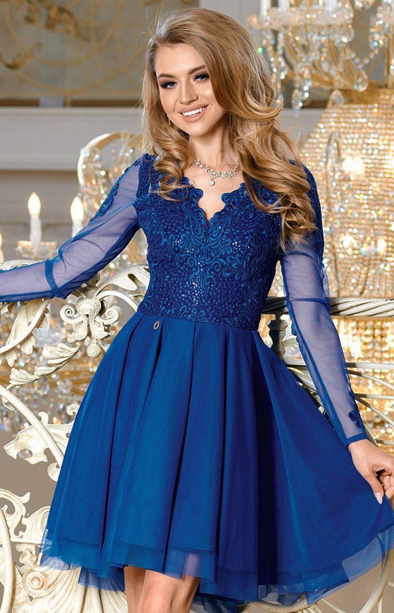 Chabrowa Rozkloszowana Sukienka Koronkowa 2160 05 Fashion Style Formal