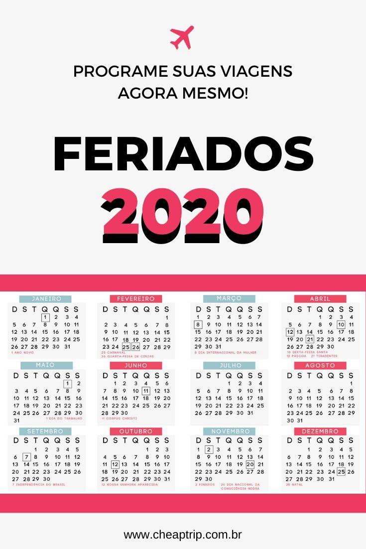Calendário de feriados 2020 Calendário de feriados de 2020 Programe agora mesmo suas viagens