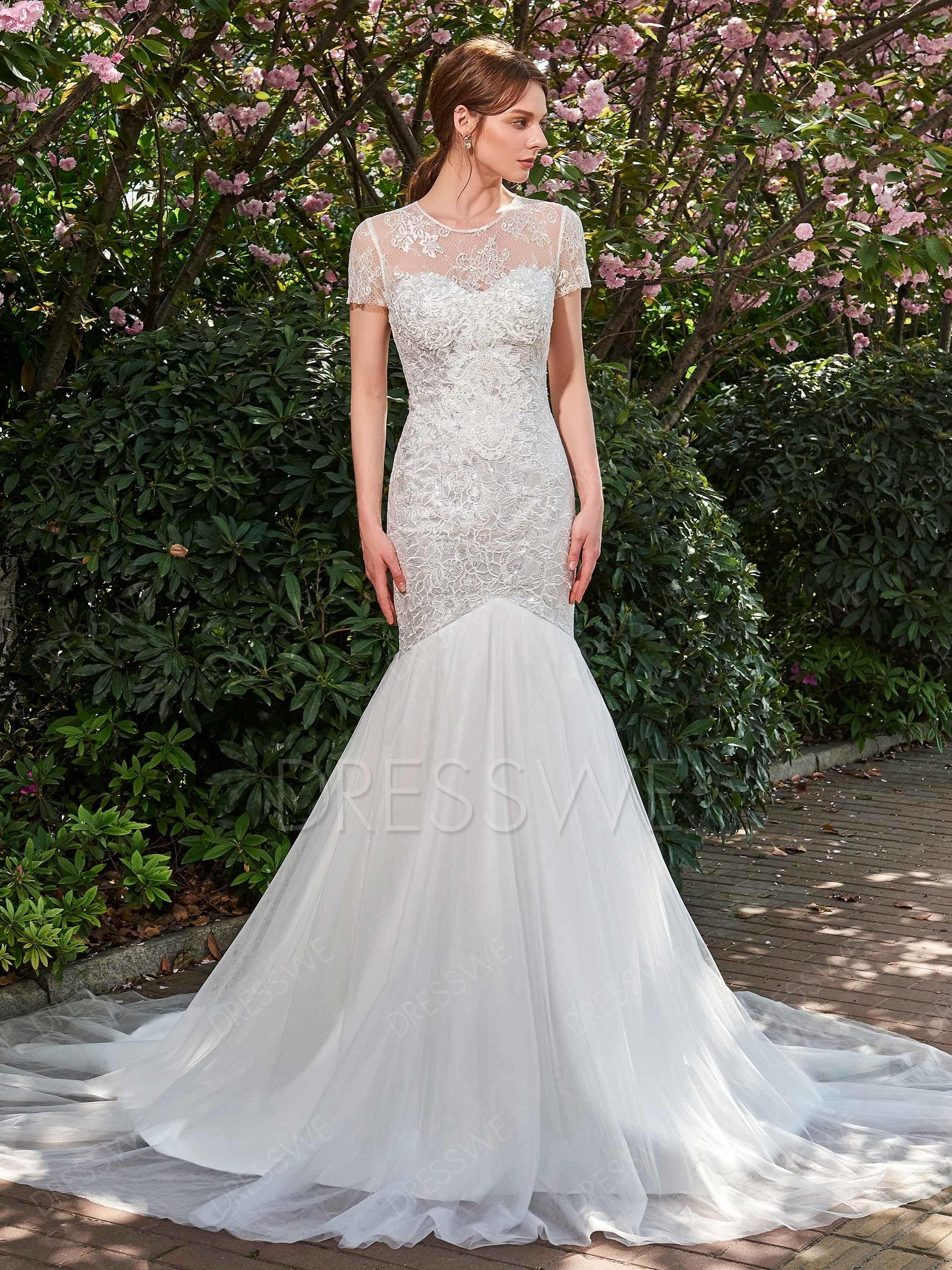 Short sleeves lace mermaid court train wedding dress