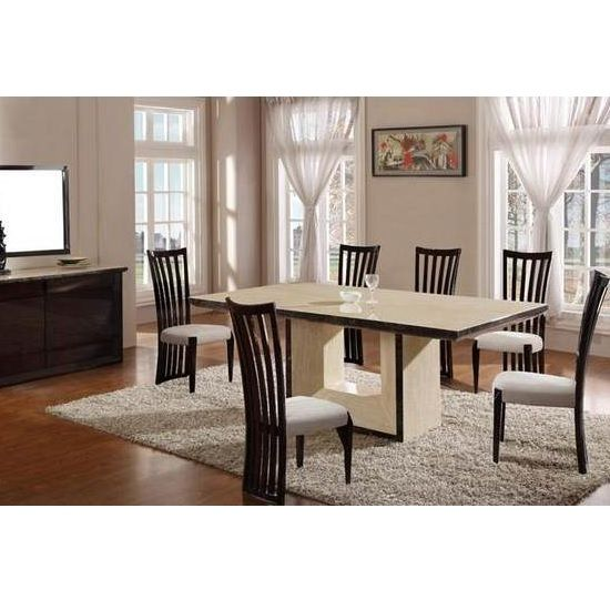 Chic Cream Marble Dining Table And 8 Contempo Chairs Dining Furniture Sets Dining Table Marble Dining Room Images