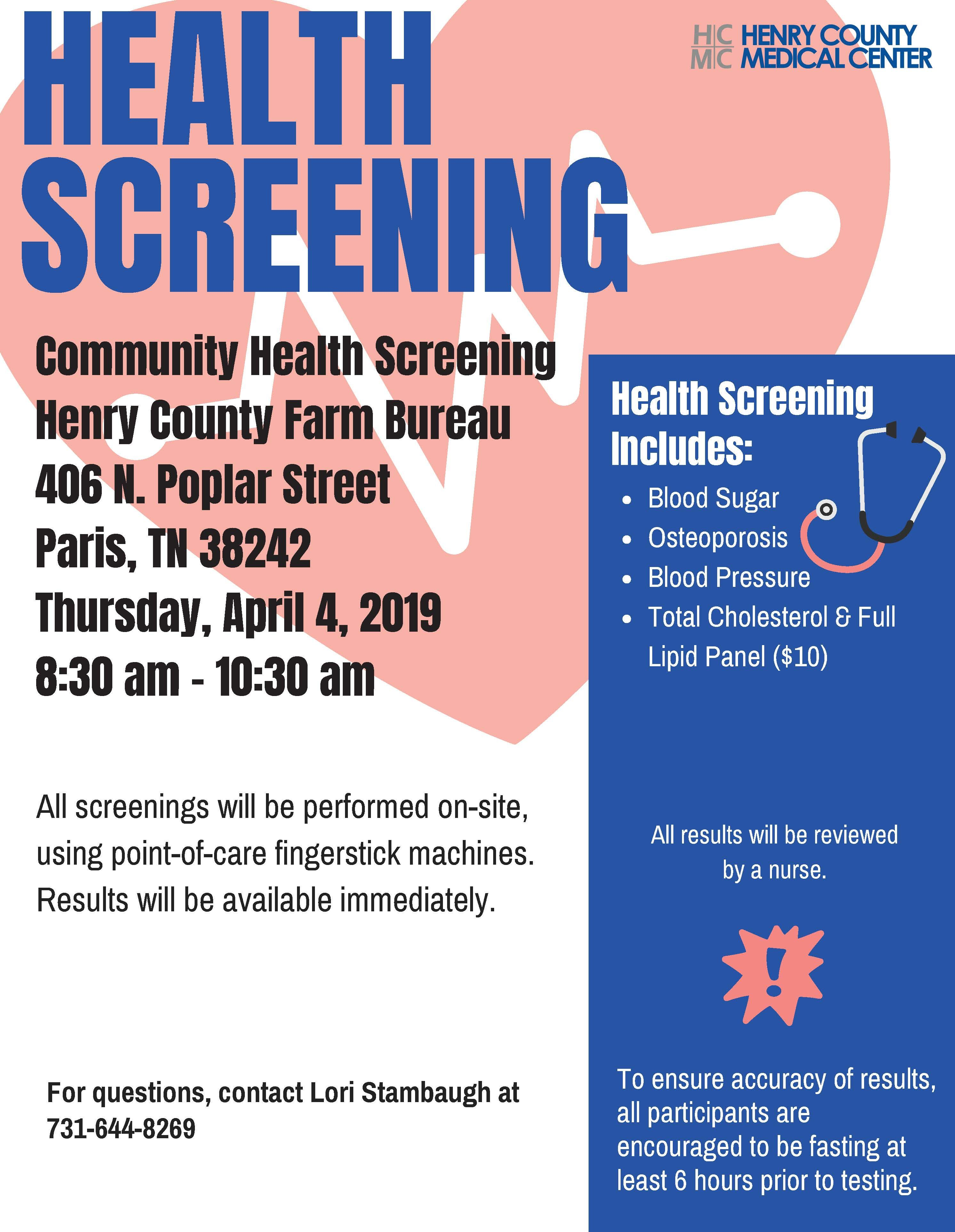A Week From Today We Will Be Offering Our Community Health Screening At Henry County Farm Bureau St Health Screening Henry County Looking Forward To Seeing You