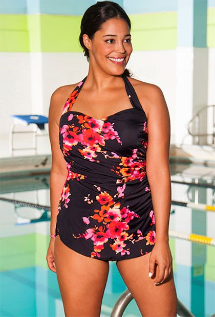 956d6e3224 Aquabelle Poppies Plus Size Sarong Front Swimsuit - They have lots of  patterns with the sarong front.