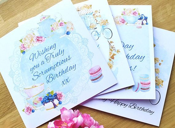 Set Of 4 Birthday Cards Country Cottage Chic Afternoon Tea