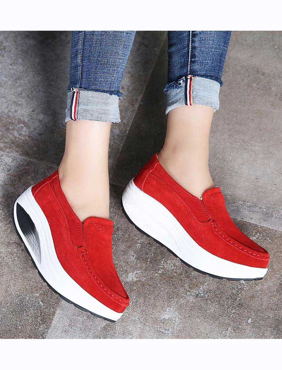 944330ef9bf0 Women s  red slip on  rocker sole shoe sneakers hollow out design
