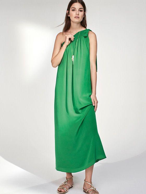 Vestido largo verde massimo dutti