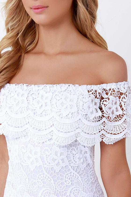 c301bb9dba32 A dress that will fit right in in paradise has arrived and its name is the  Islands in the Stream White Lace Off-the-Shoulder Dress!