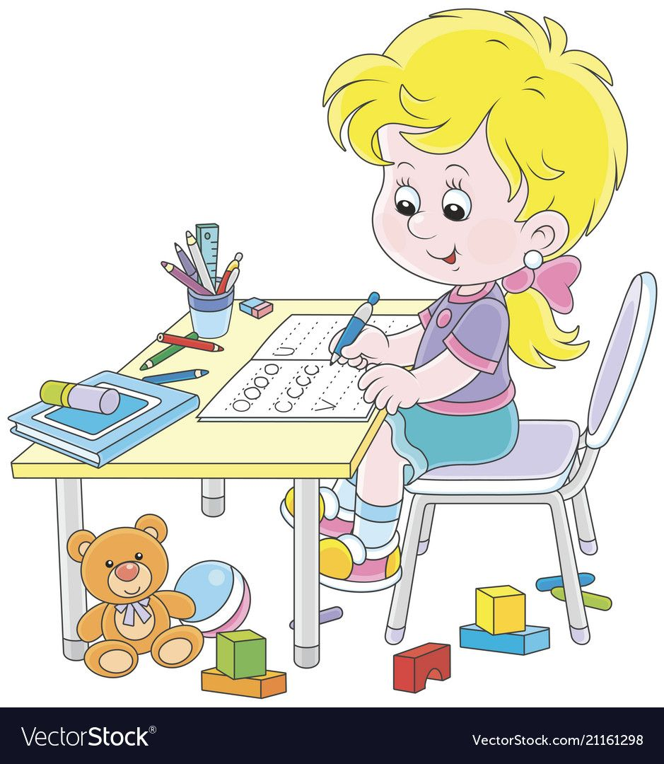 Girl Doing Homework After Her Game With Toys Vector Image Kids Vector Art Drawings For Kids Student Cartoon