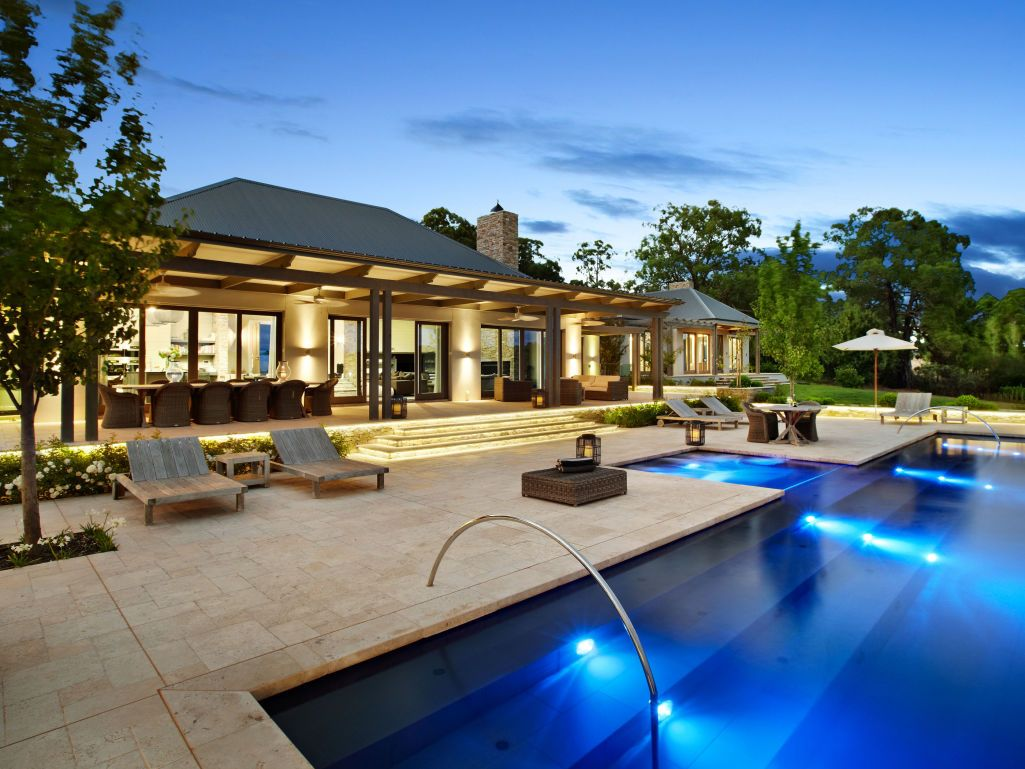eco outdoor capri travertine pavers used in contemporary pool