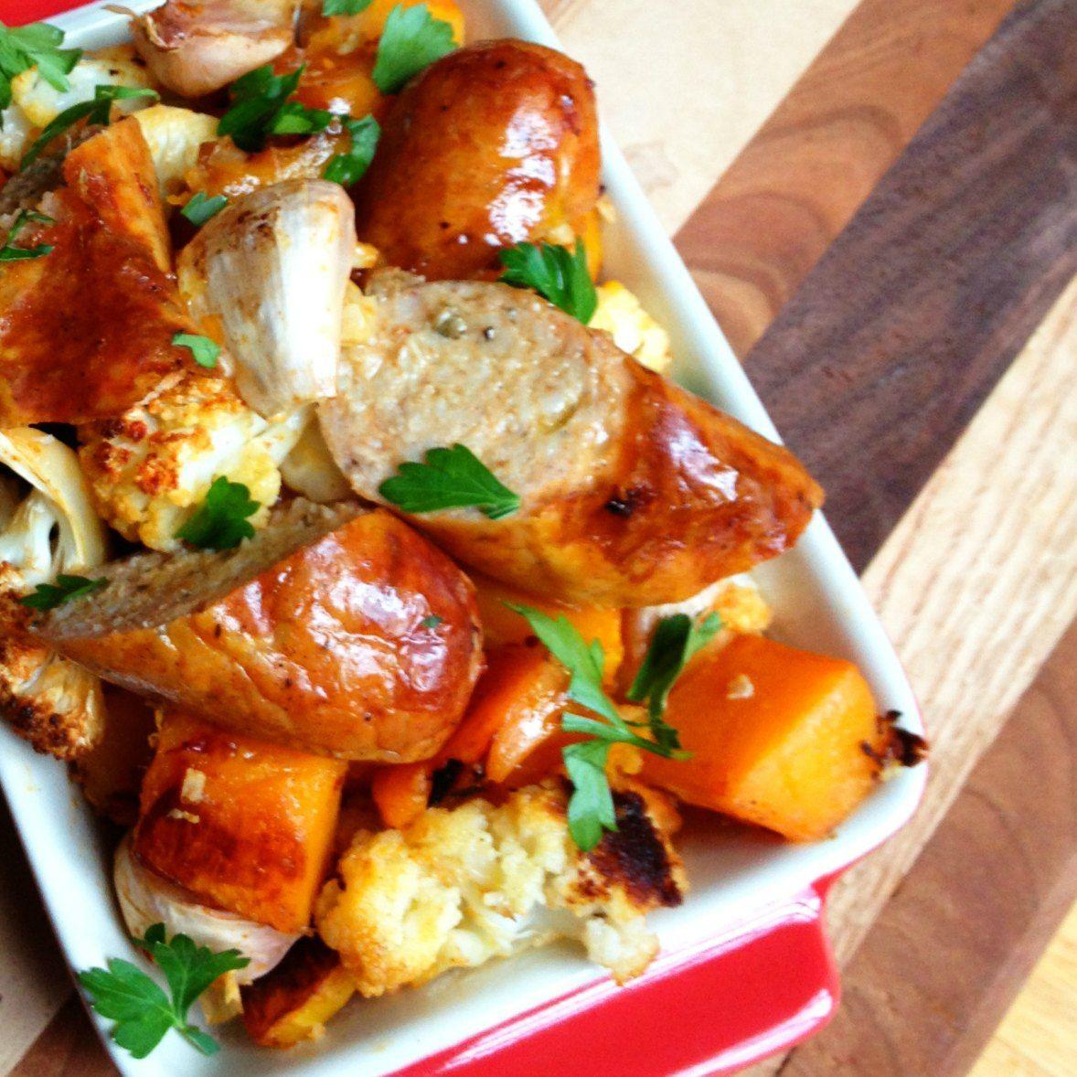 Garlic Roasted Sausage and Winter Vegetables - The Lemon Bowl