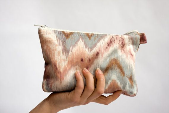 Ikat Cosmetic Zipper Pouch Pastel Pink and by BeauMiracleForYou, $19.00