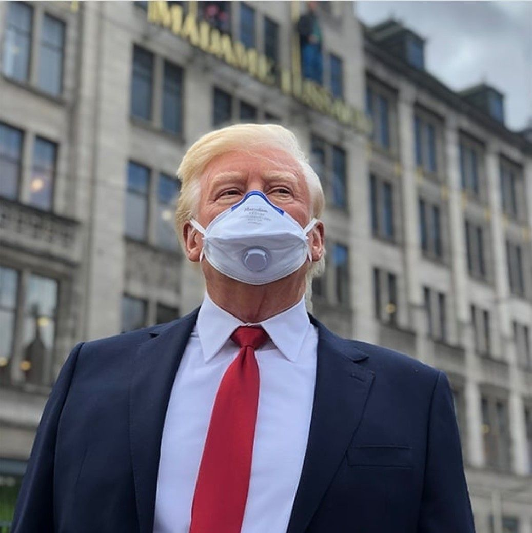 Madame Tussauds Amsterdam Puts Trump On The Street Wearing A Surgical Mask Madame Tussauds Tussauds Animated Images