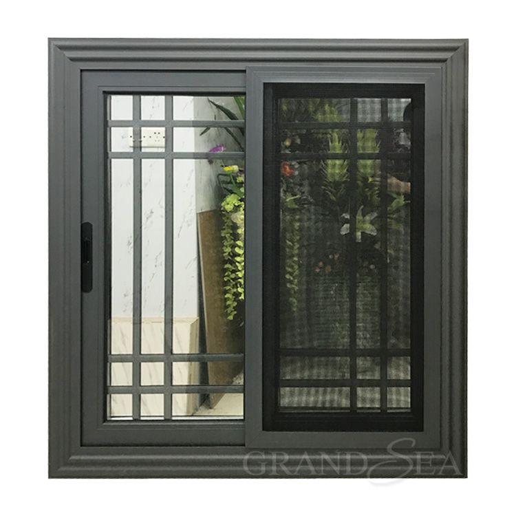 External Hurricane Impact Grey Aluminium Frame Sliding Window Grill Design In 2020 Window Grill Design Sliding Window Design Aluminum Windows Design