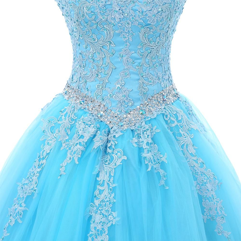 Ball Gown Long Sleeve Beaded Crystal Applique Watteau: Sky Blue Quinceanera Ball Gown Cap Sleeves Tulle Appliques