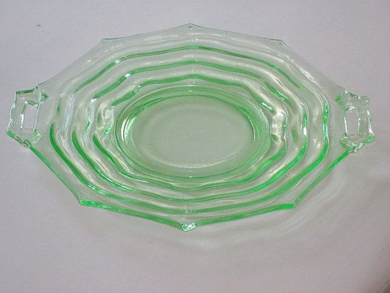 Vintage Green Depression Glass 2Handled Cake Plate Serving Plate