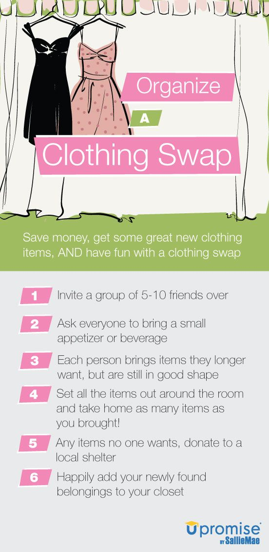 Host a clothing swap party! Very cool! Give the girls a lot of ...