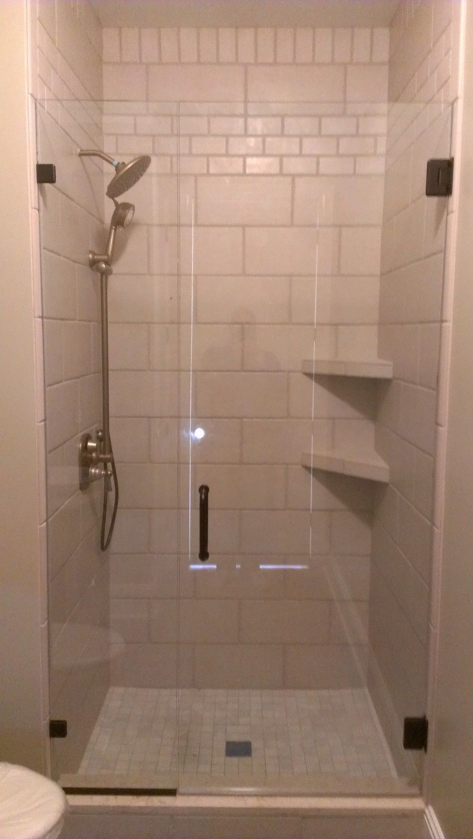 Bathroom Sleek White Tiled Corner Showers With Diagonal