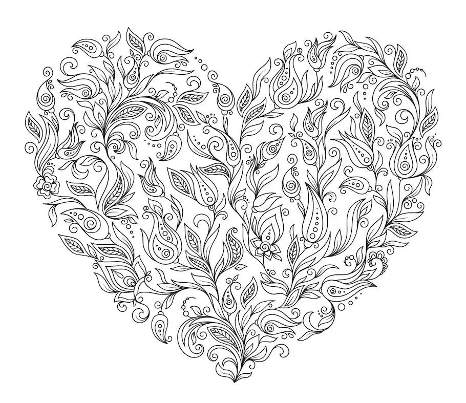 heart doodle of flower elements  valentine coloring